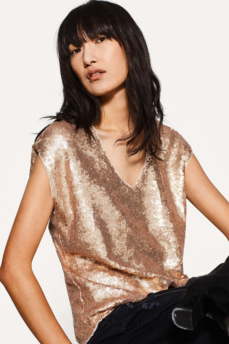 Esprit - Elasticated sequin blouse with V-neck