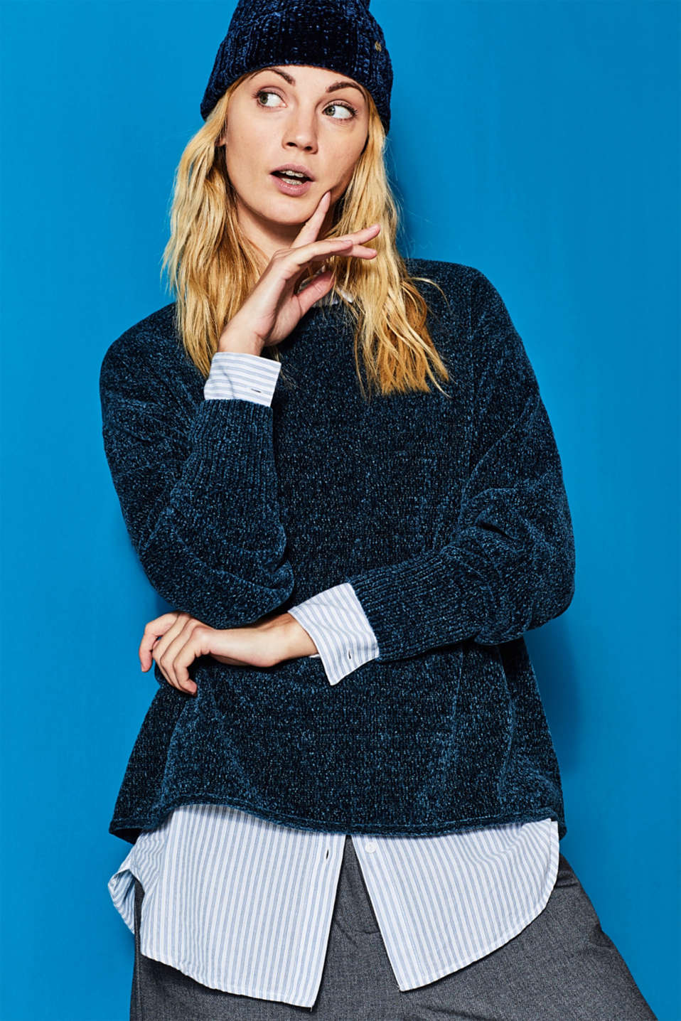 Esprit - Pull-over oversize en maille chenille douce