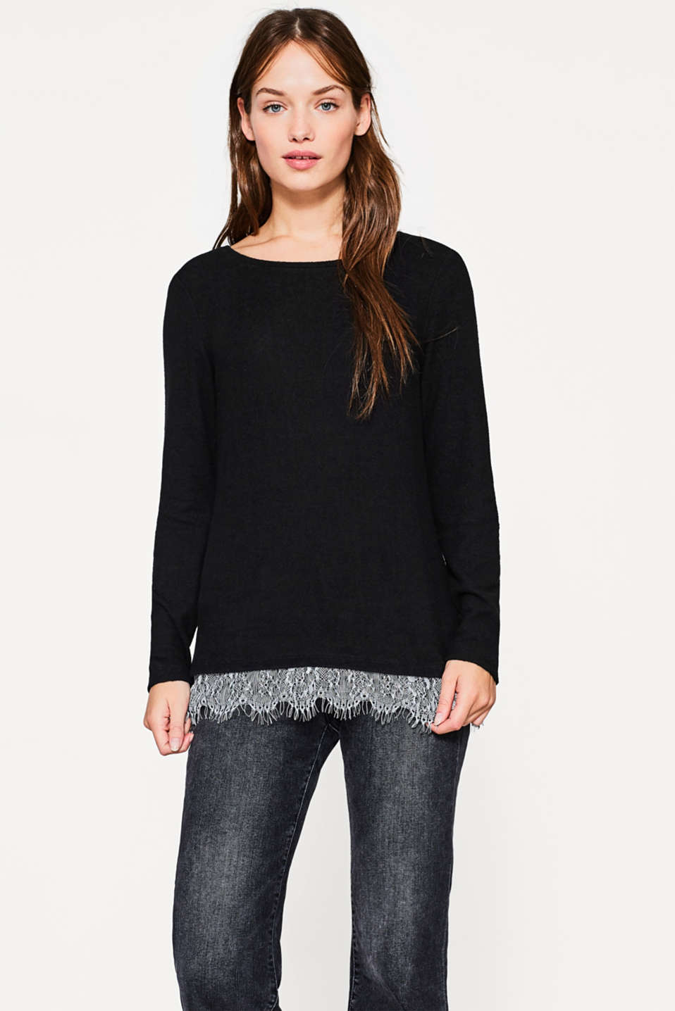 Esprit - Soft melange long sleeve top with lace