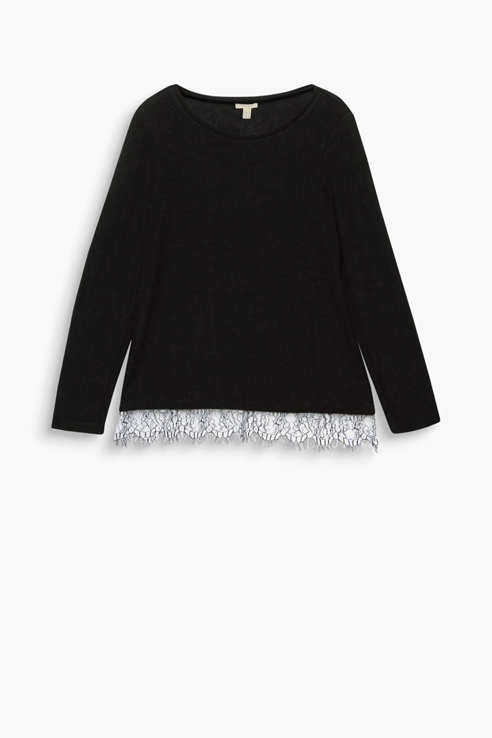 Two-tone is trendy: just like the bi-colour lace hem trim on this sensationally soft, melange long sleeve top!