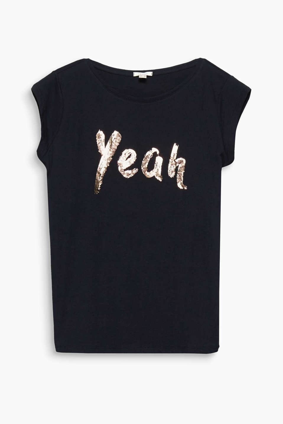 Oh yeah! Ved denne bomulds-T-shirt sørger glansprintet med påsyede pailletter for glam-rock-style!
