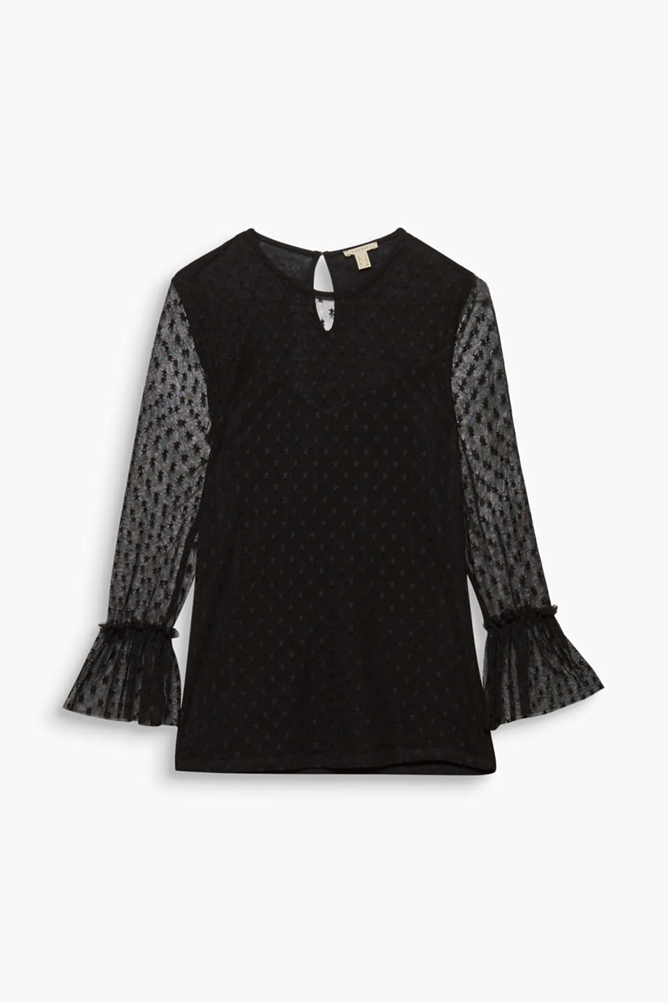 This semi-sheer top with stars and three-quarter length trumpet sleeves is super trendy!
