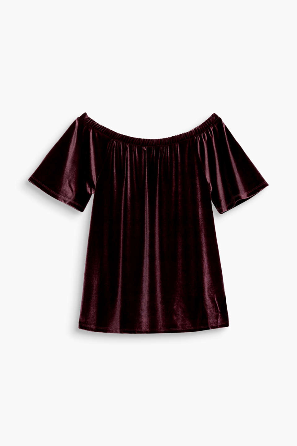 For your perfect party look: this off-shoulder top in stretchy velvet is feminine, glamorous and comfy all at the same time!