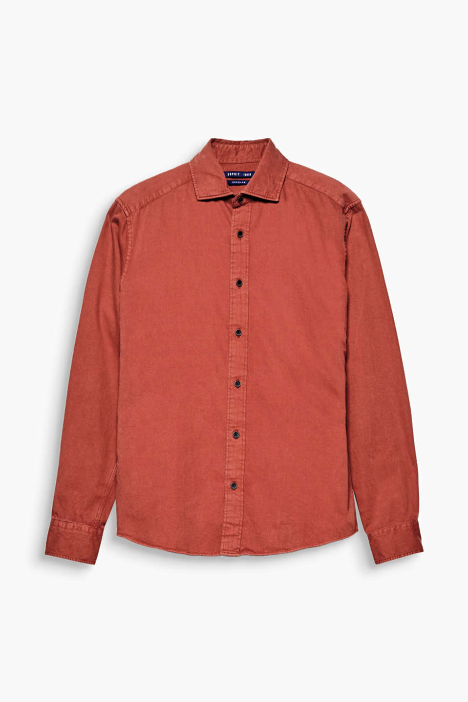 Garment dyed! The intense colour makes this pure cotton shirt a cool styling piece.