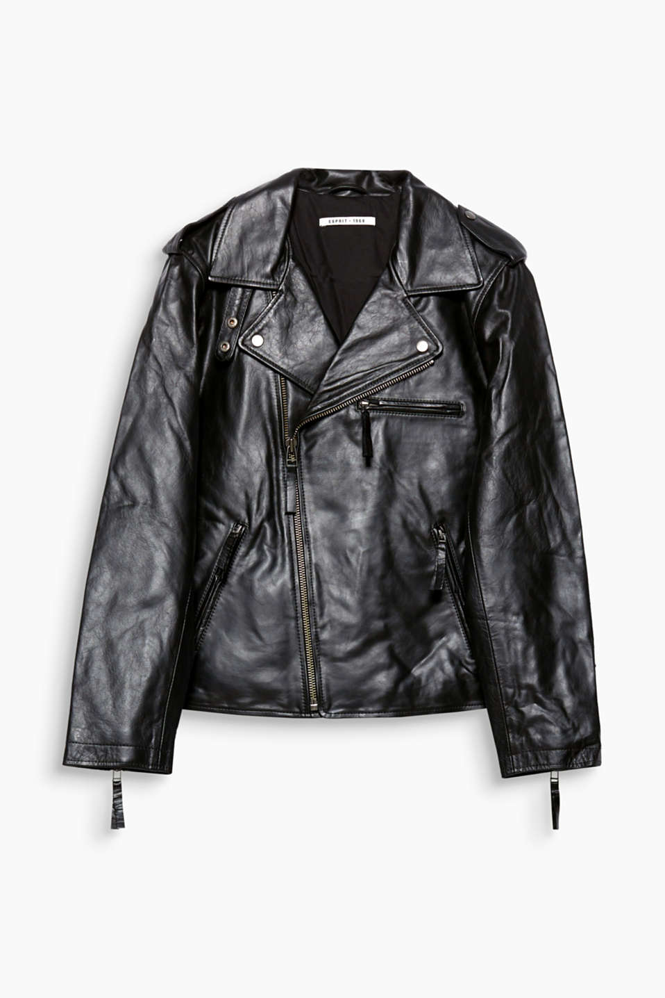 Giving your looks a rock appeal: this biker jacket in high-quality, smooth buffalo leather.