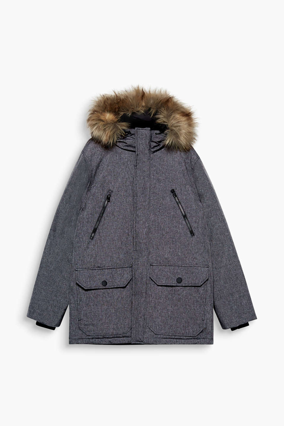 Look cool, stay warm! This weatherproof jacket is padded and features a hood trimmed with fake fur.