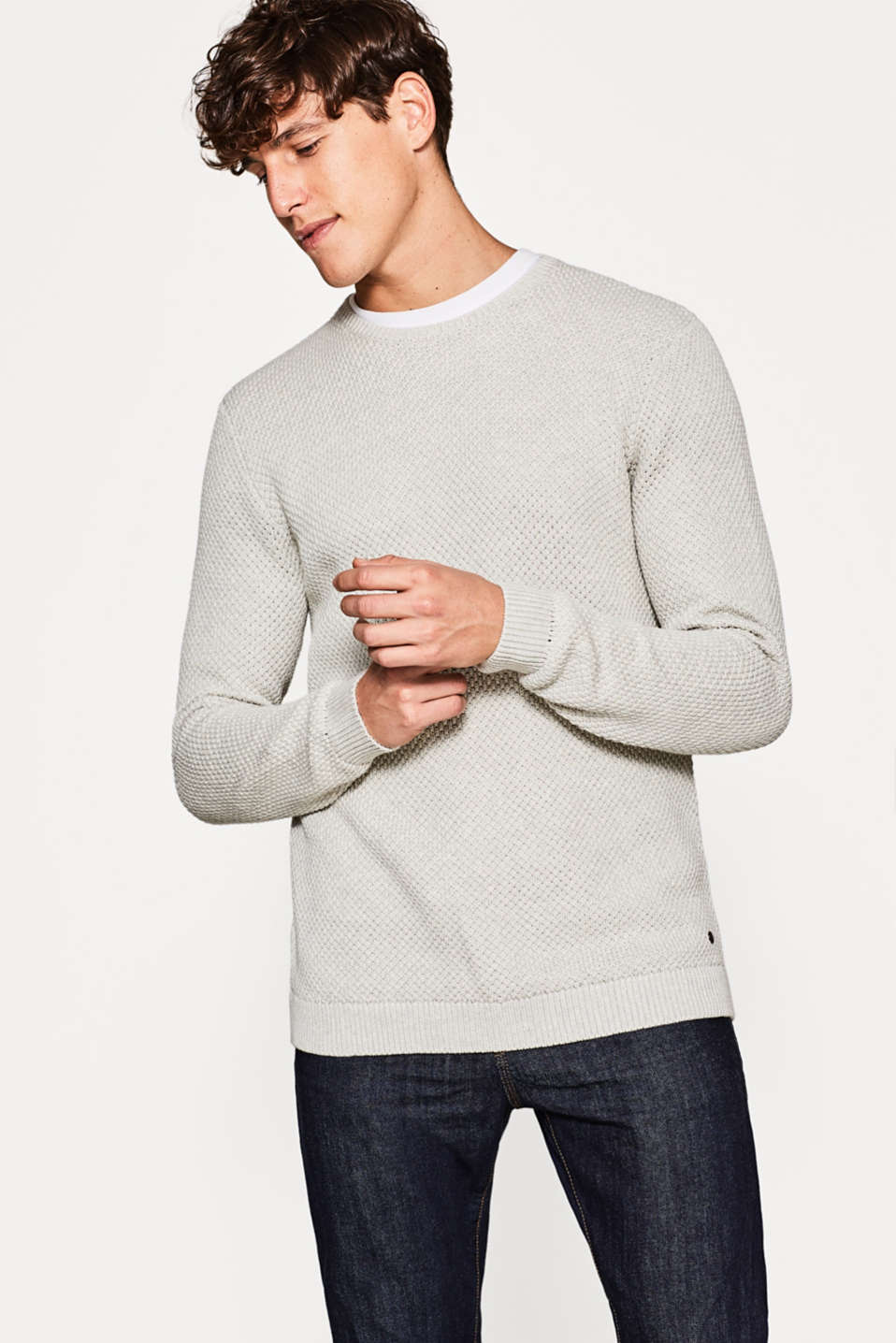 Esprit - Textured knit jumper, cotton