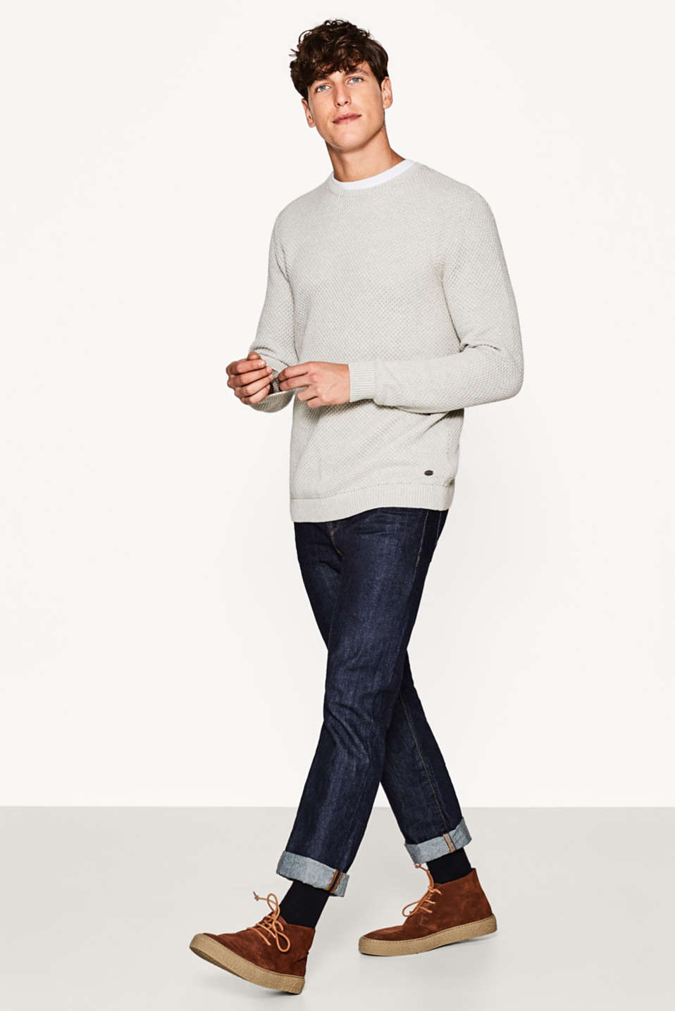 Textured knit jumper, cotton