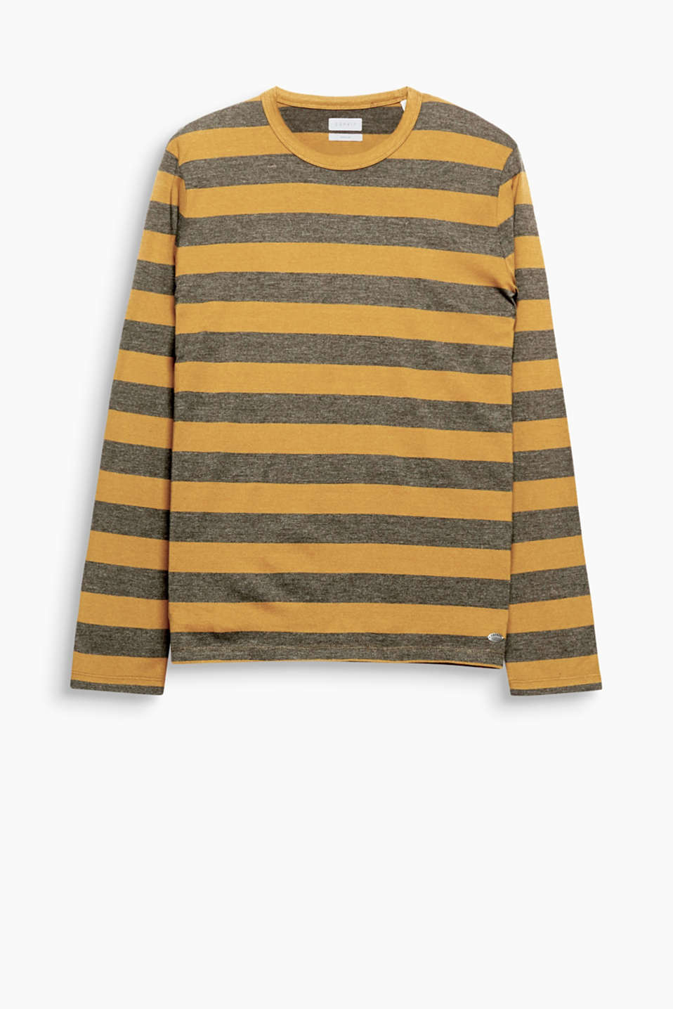 Cool stripes, mixed textures: print and melange. This long sleeve top is crafted from jersey fabric.