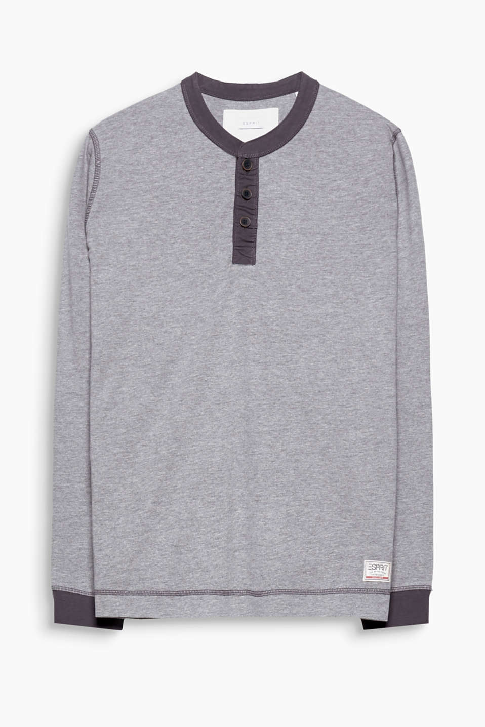 A sporty essential piece, this melange long sleeve jersey top in blended cotton-viscose has a narrow stand-up collar.