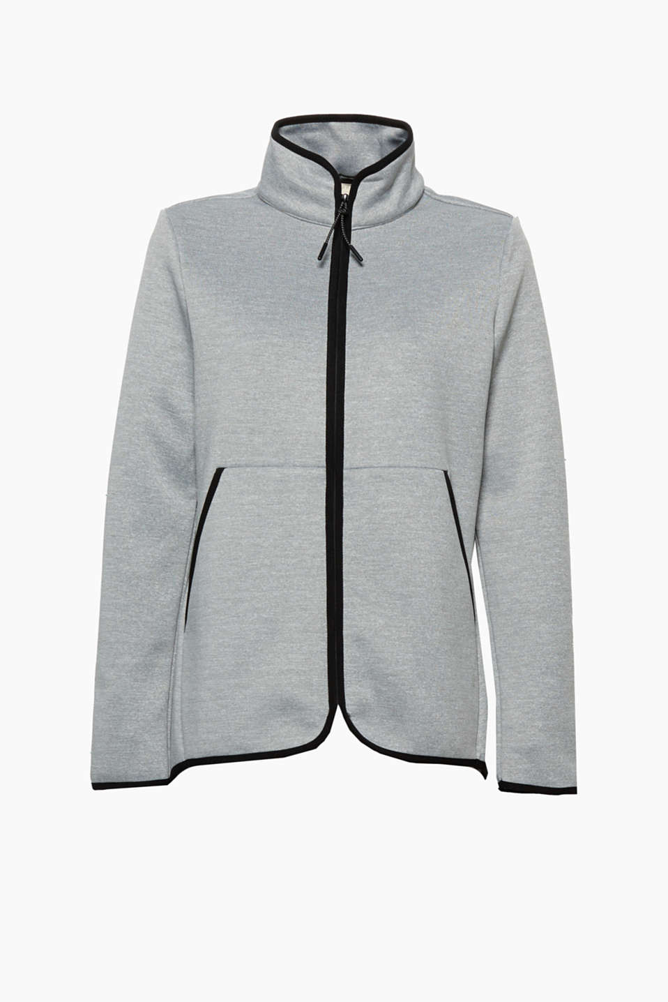 Your new favourite jacket for sport and leisure wear: cardigan in a neoprene design with soft fleece lining!