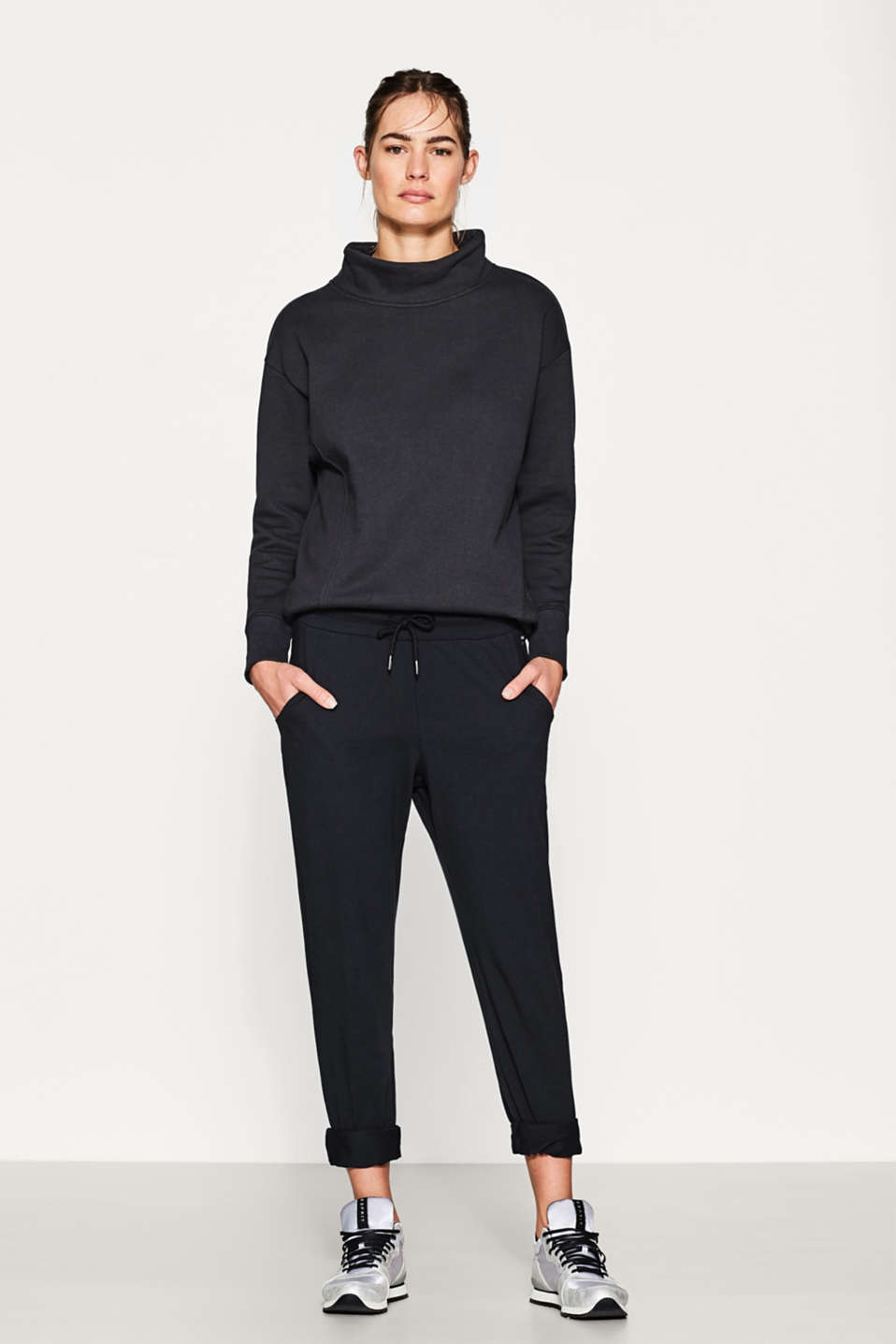 Esprit - Cotton blend sweatshirt with napped interior