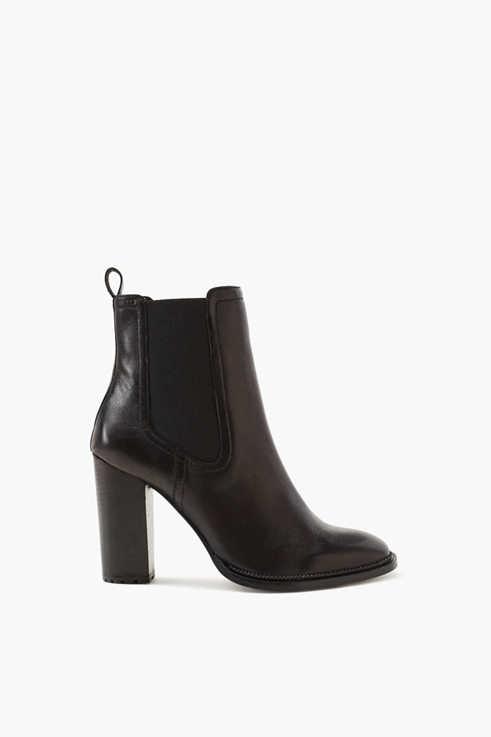 Esprit - Bottines en cuir cool à talons bottier