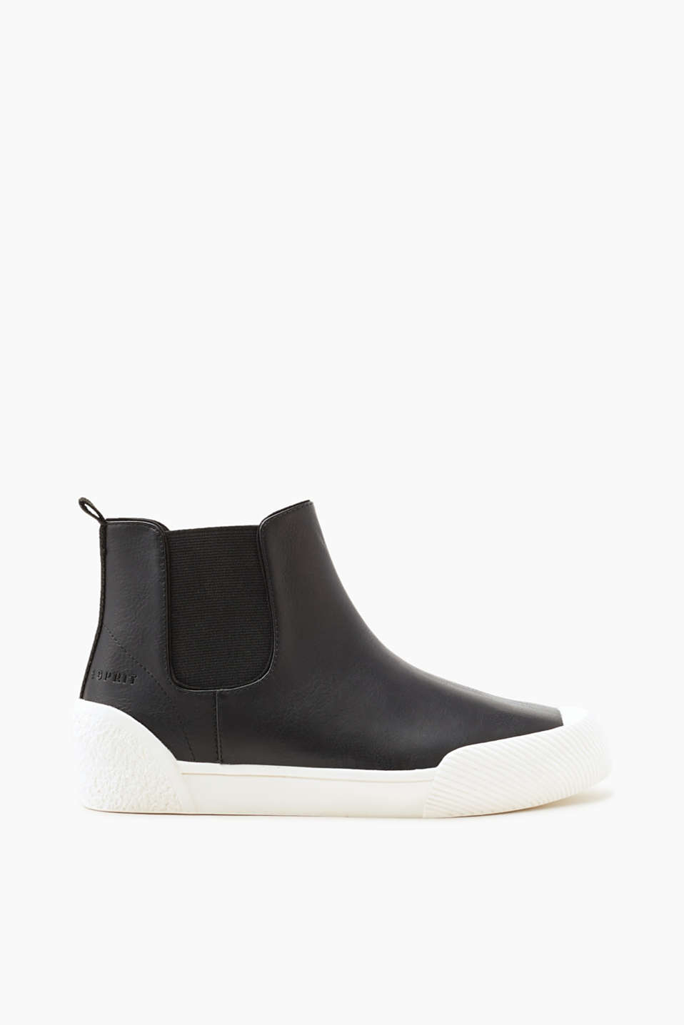 Esprit - Smooth faux leather high-top trainers