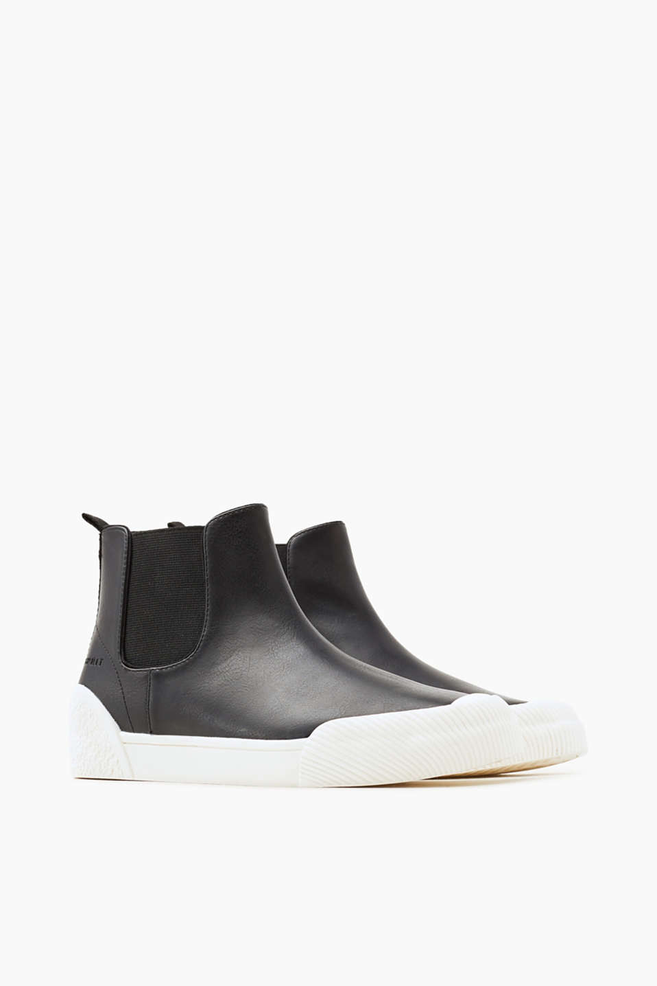 Smooth faux leather high-top trainers
