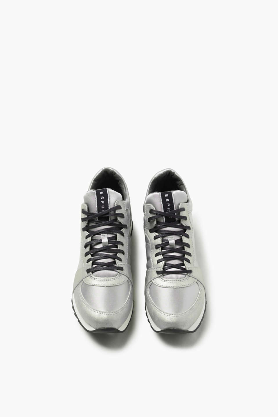 Cool mixed material metallic trainers
