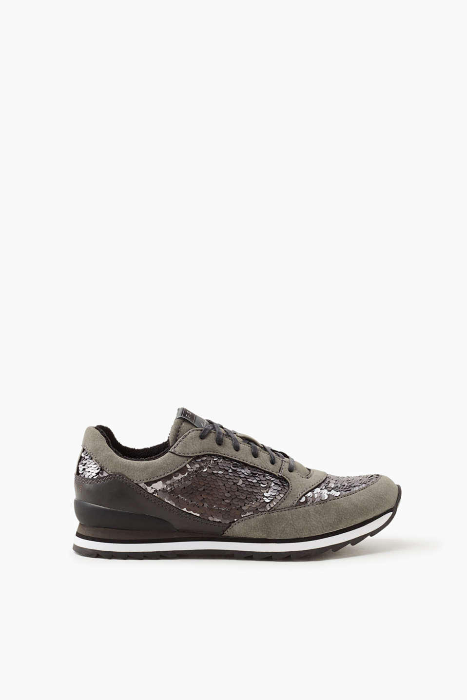 Esprit - Lace-up trainers trimmed with sequins