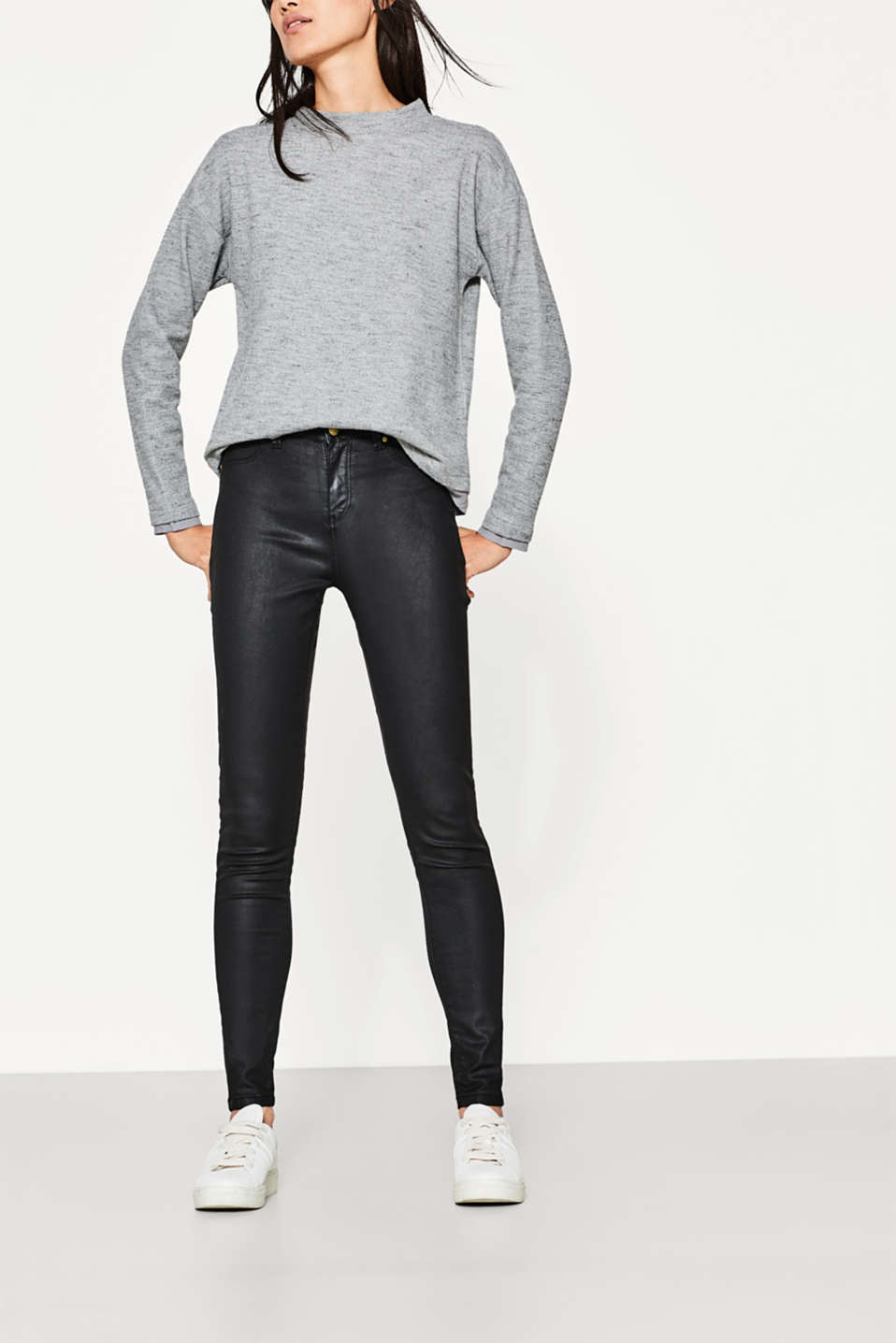 Esprit - Coated jeans + a high percentage of stretch