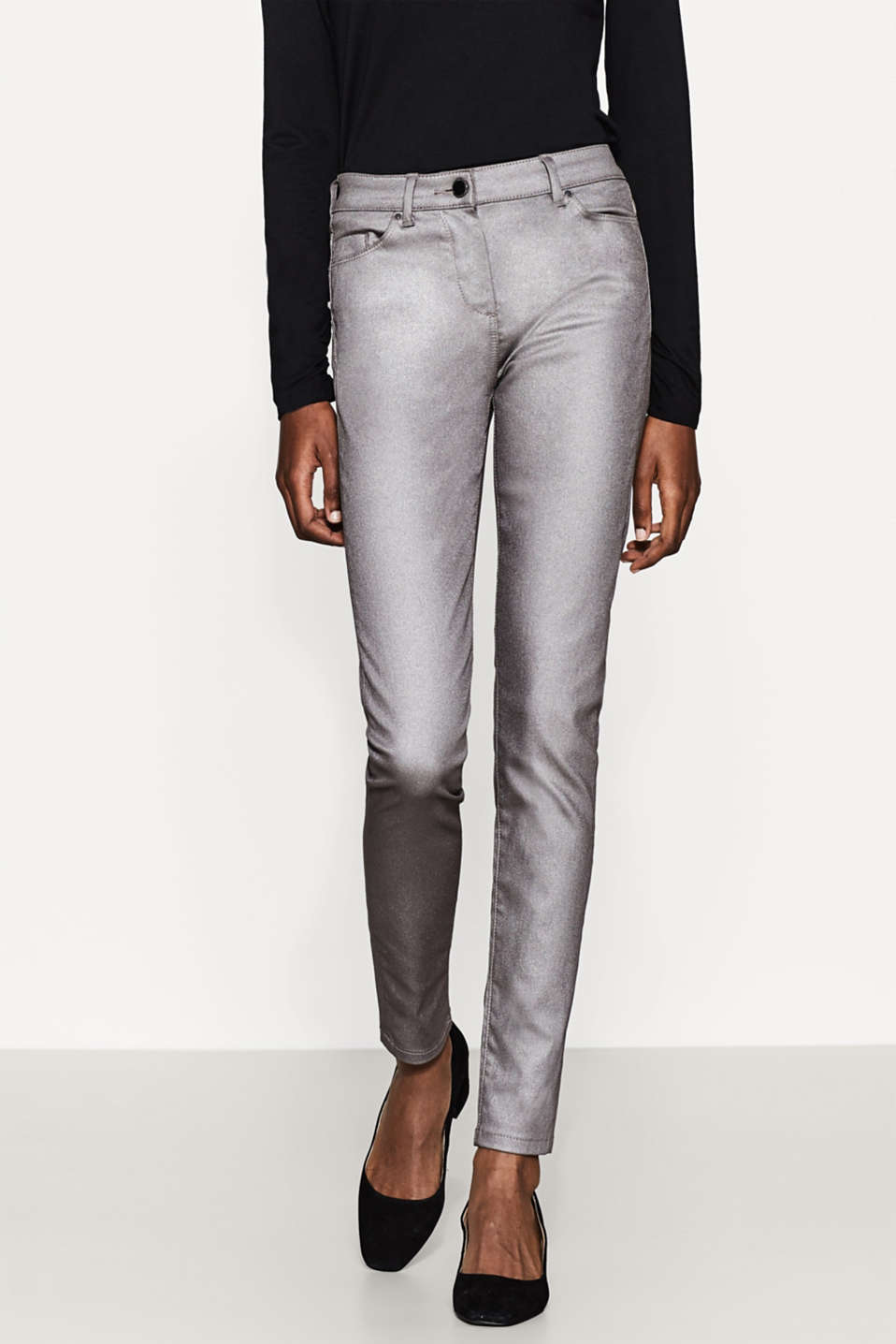 Esprit - Skinny trousers with silver-coloured coating