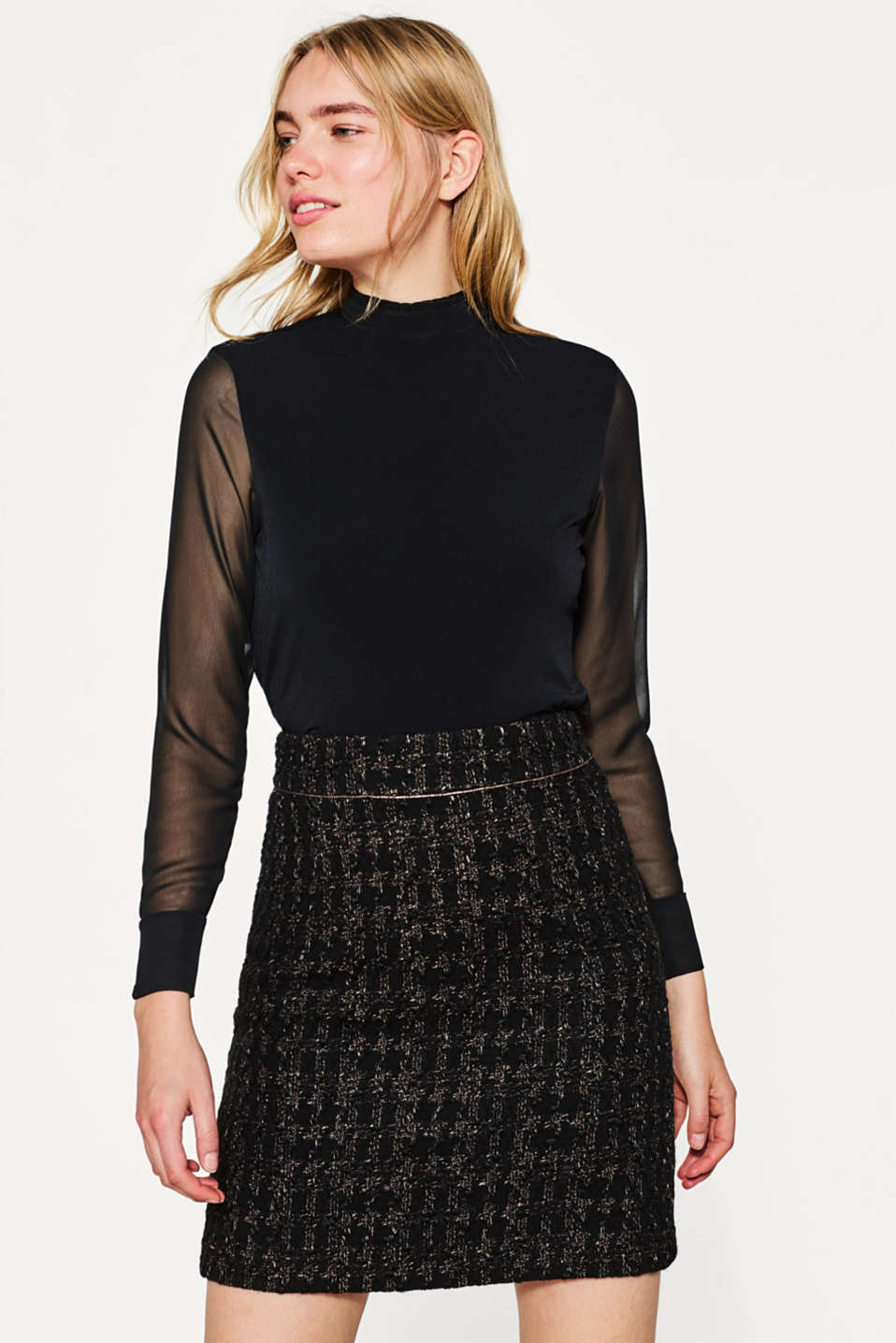 Esprit - Firm bouclé skirt in a glitter look