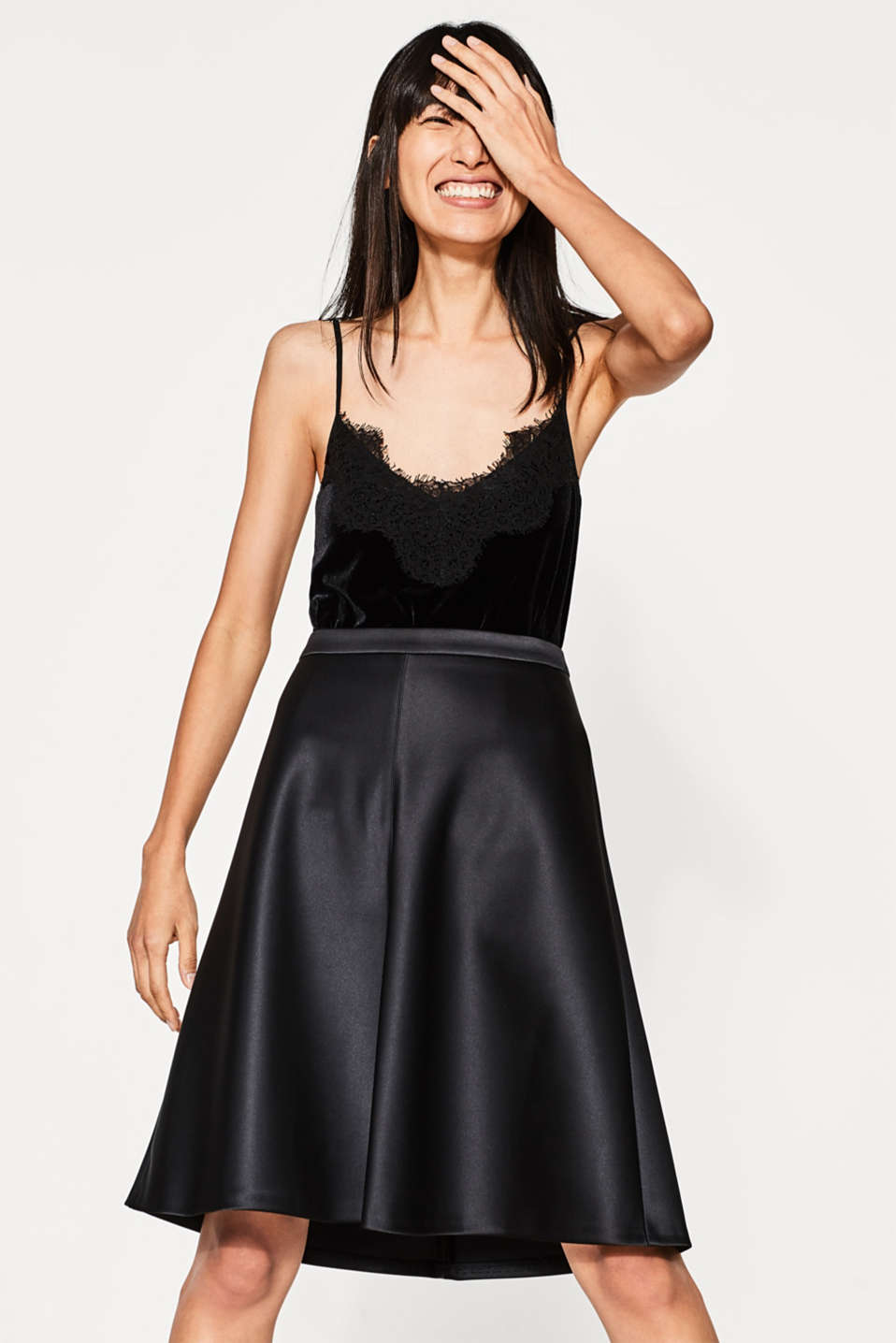 Esprit - Flared A-line satin skirt