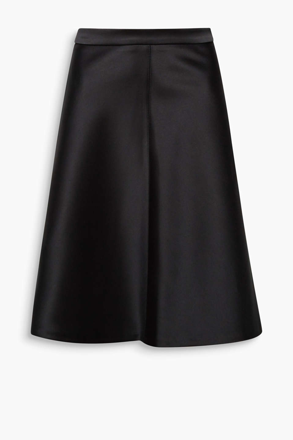 The fine silky shine and the flared shape give this A-line skirt its very special look!