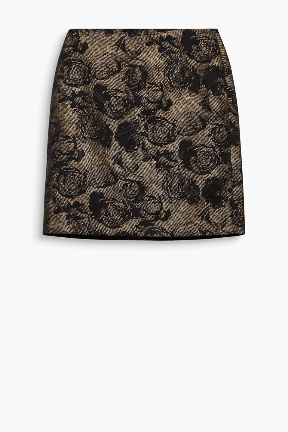 Subtle shine and interwoven flowers make this mini-skirt a feminine glamour piece!