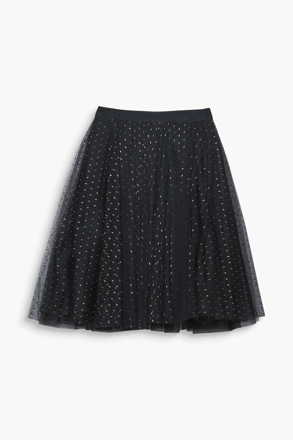 Simply enchanting! This tulle skirt is a must have because of its golden polka dots and fashionable high-waistband!