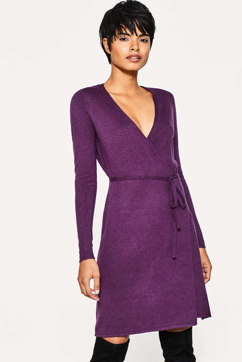 Esprit - Wrap-over dress in fine knit with cashmere