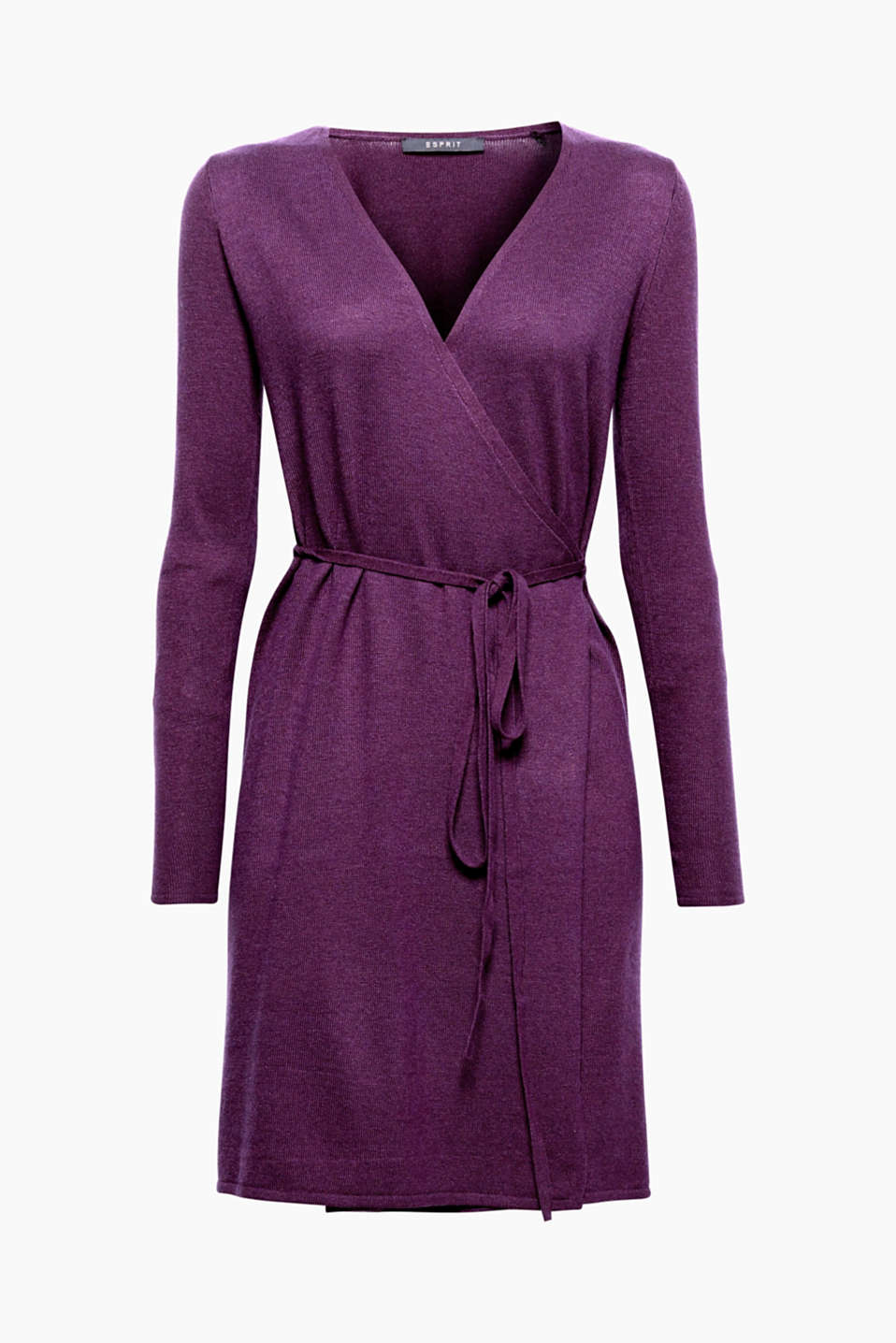 Works as a dress or cardigan: feminine wrap-over dress with a narrow tie-around belt and exquisite cashmere!