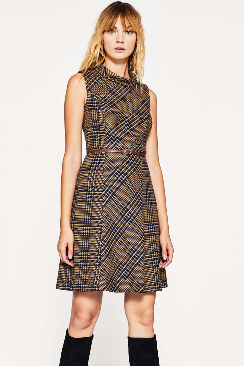 Esprit - Fitted check dress with retro charm at our Online ...