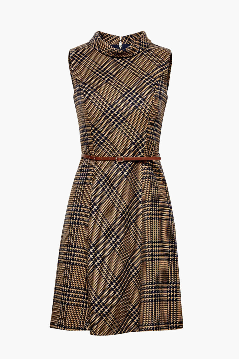 Thanks to the interwoven check pattern, this belted shift dress exudes retro charm!