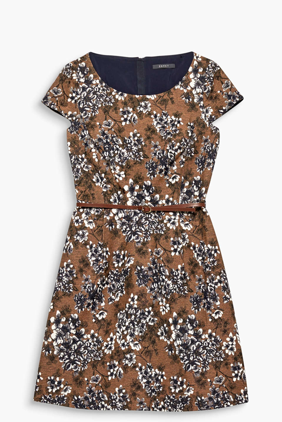 Autumn flowers on a robust fabric make this dress and feminine outfit for cooler days!