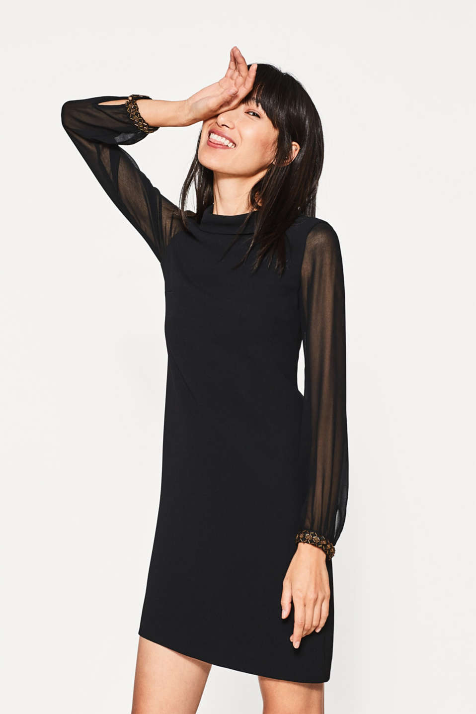 Esprit - Flowing mini dress with stand-up collar
