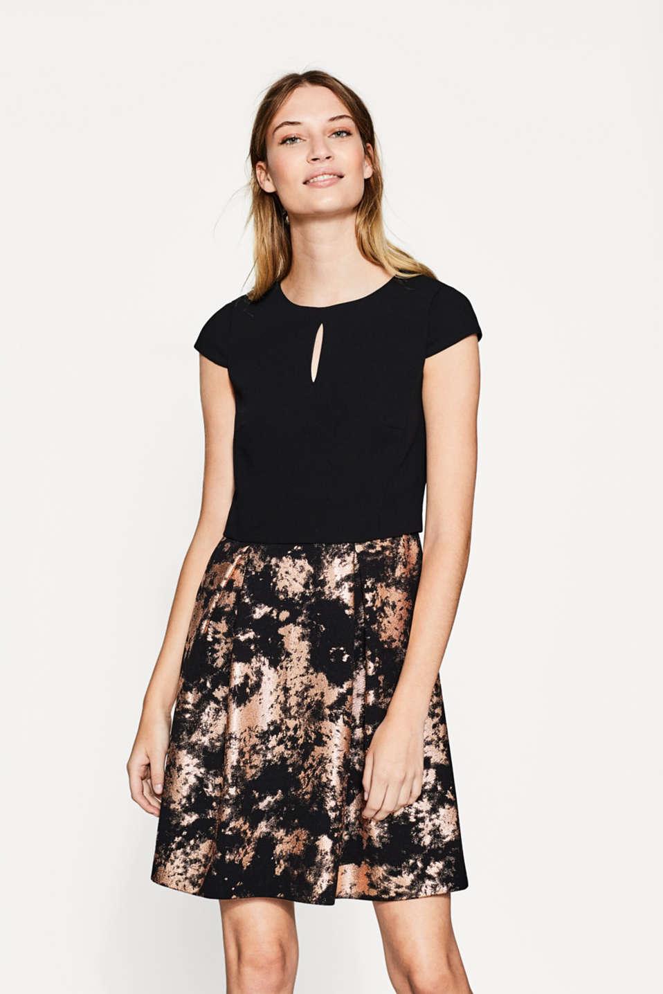 Esprit - Kleid im 2-in-1-Look mit Glanz-Print im Online Shop kaufen