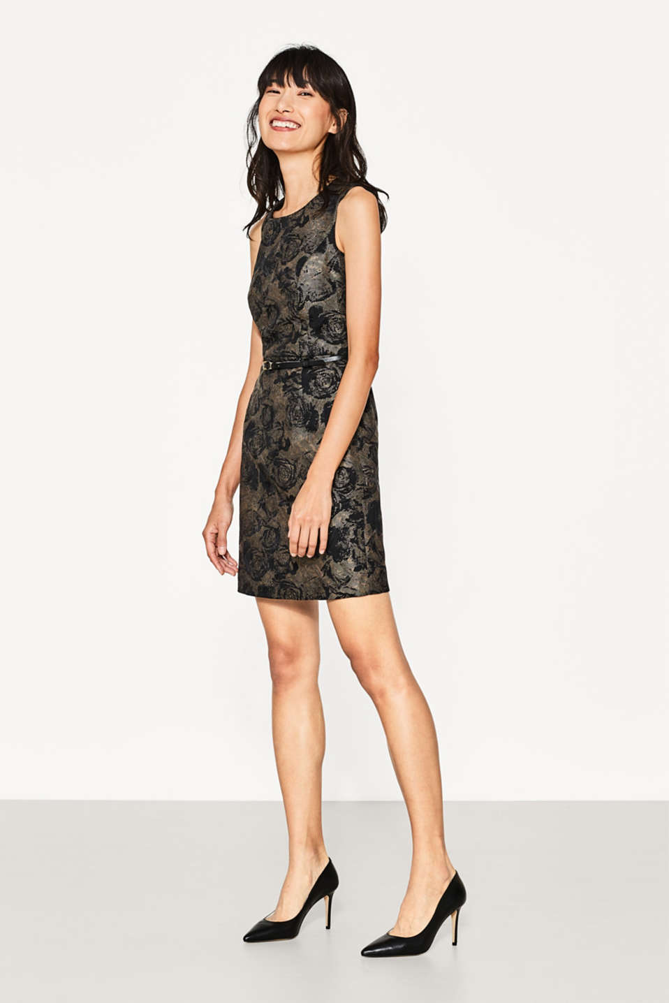 Esprit - Shiny shift dress with jacquard roses