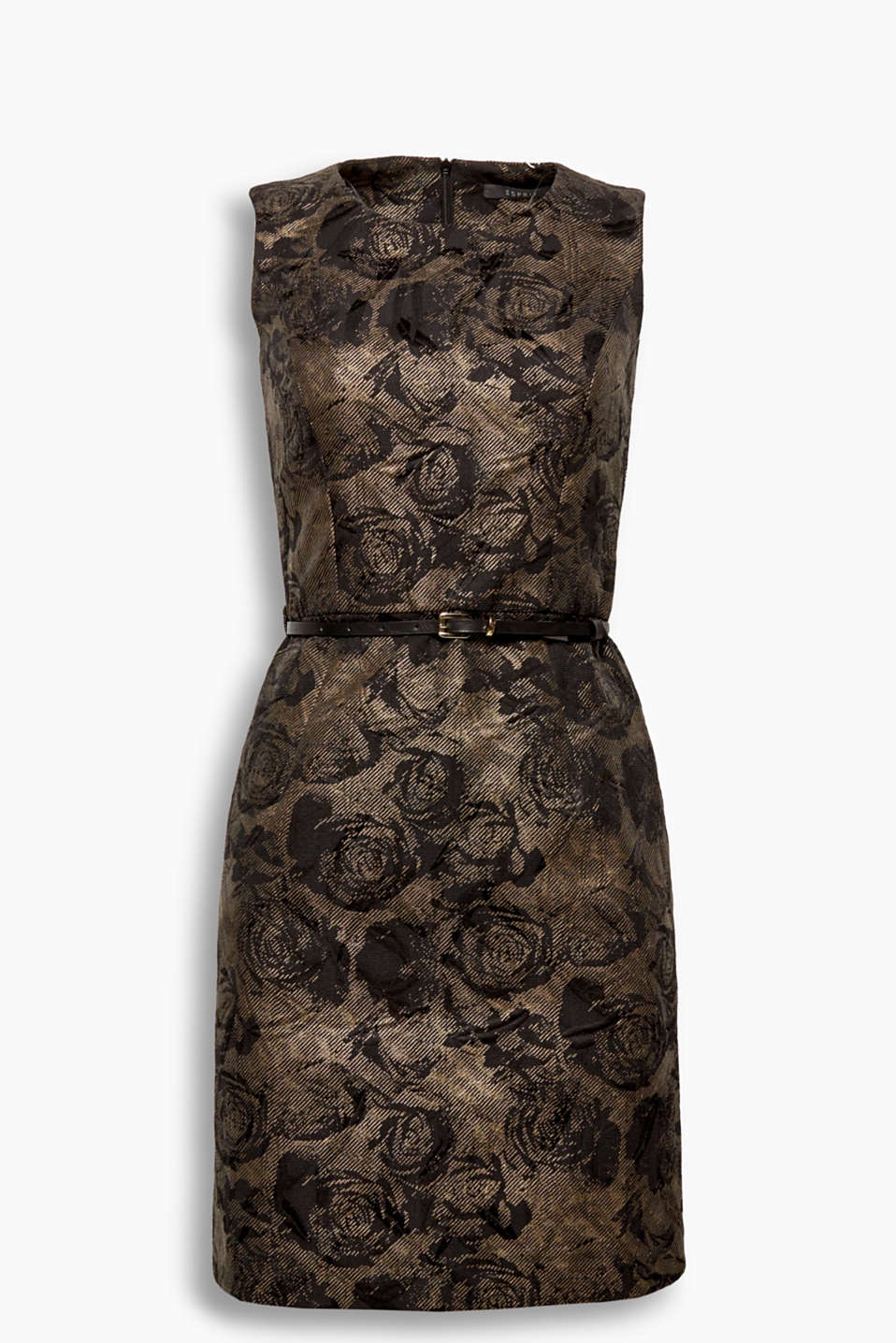 This finely textured shift dress featuring a narrow belt is graced with jacquard flowers and an innovative sheen!