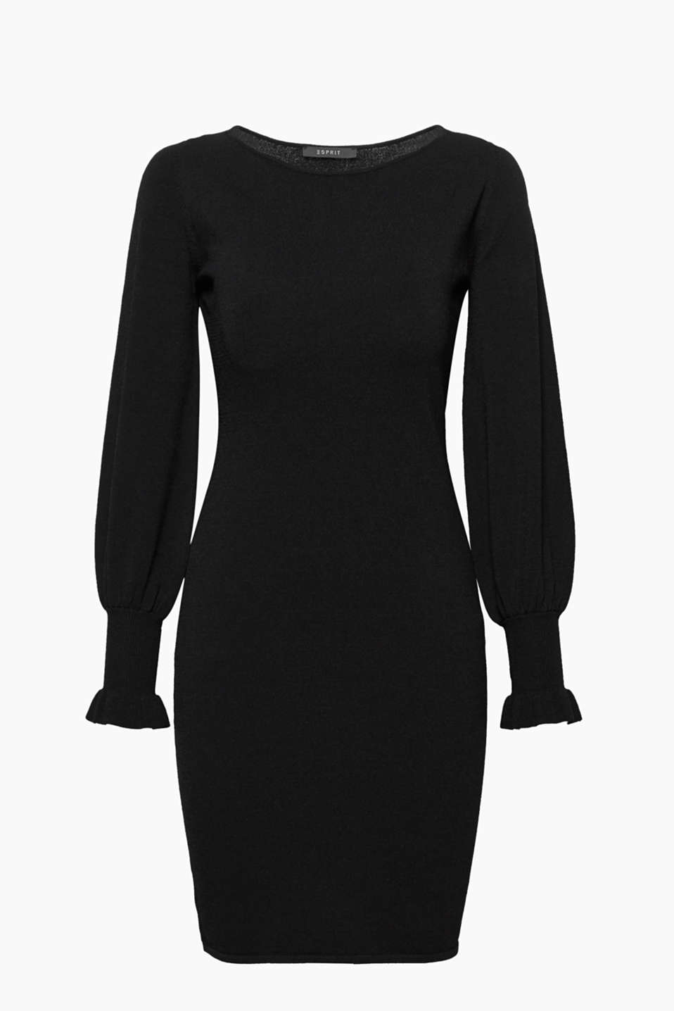 Elegant look, fashionable touch: This knitted dress in crêpe yarn combines top quality with ultra trendy balloon sleeves!