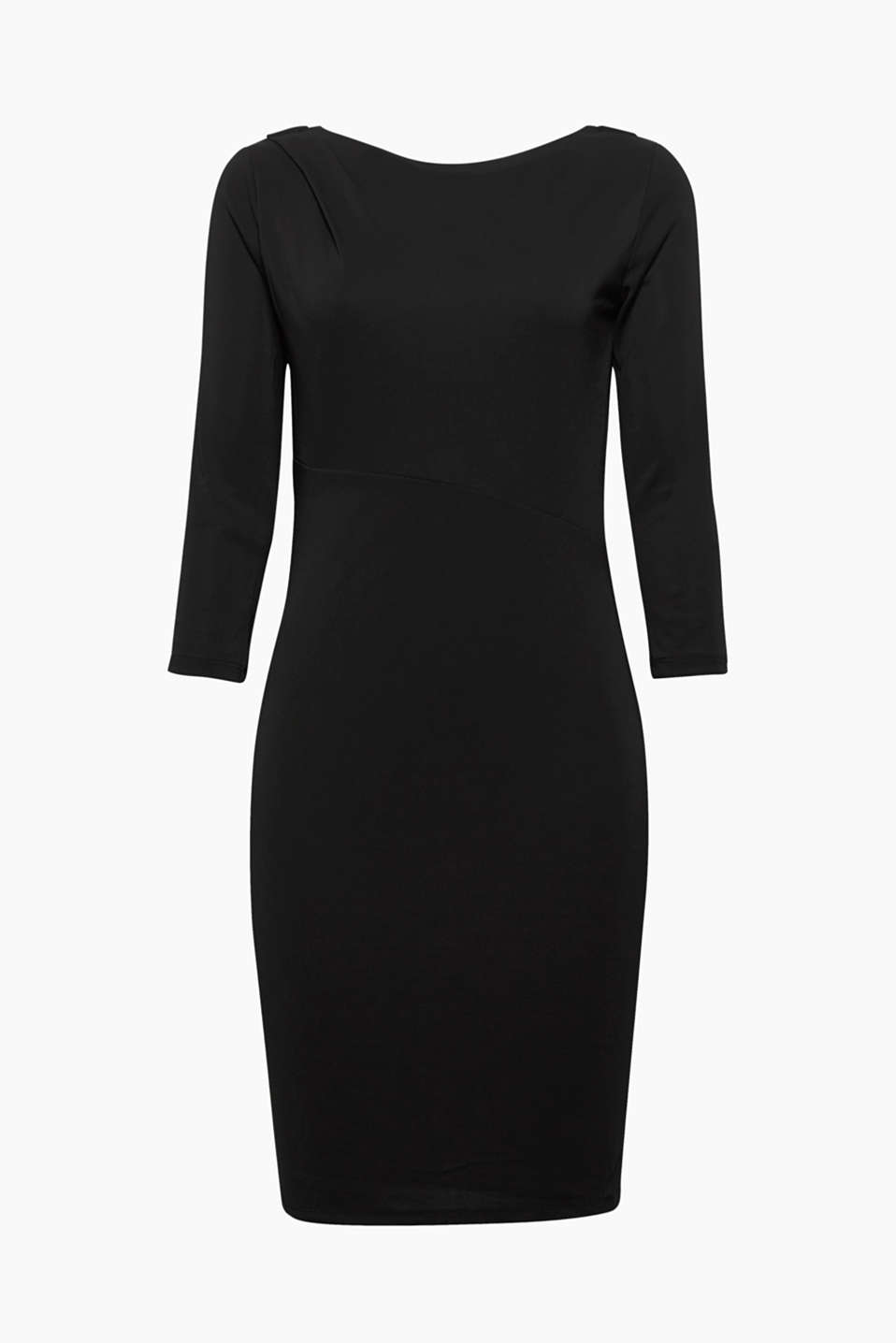 Flowing jersey, cowl neckline on the back – both features make this figure-defining dress so perfect!