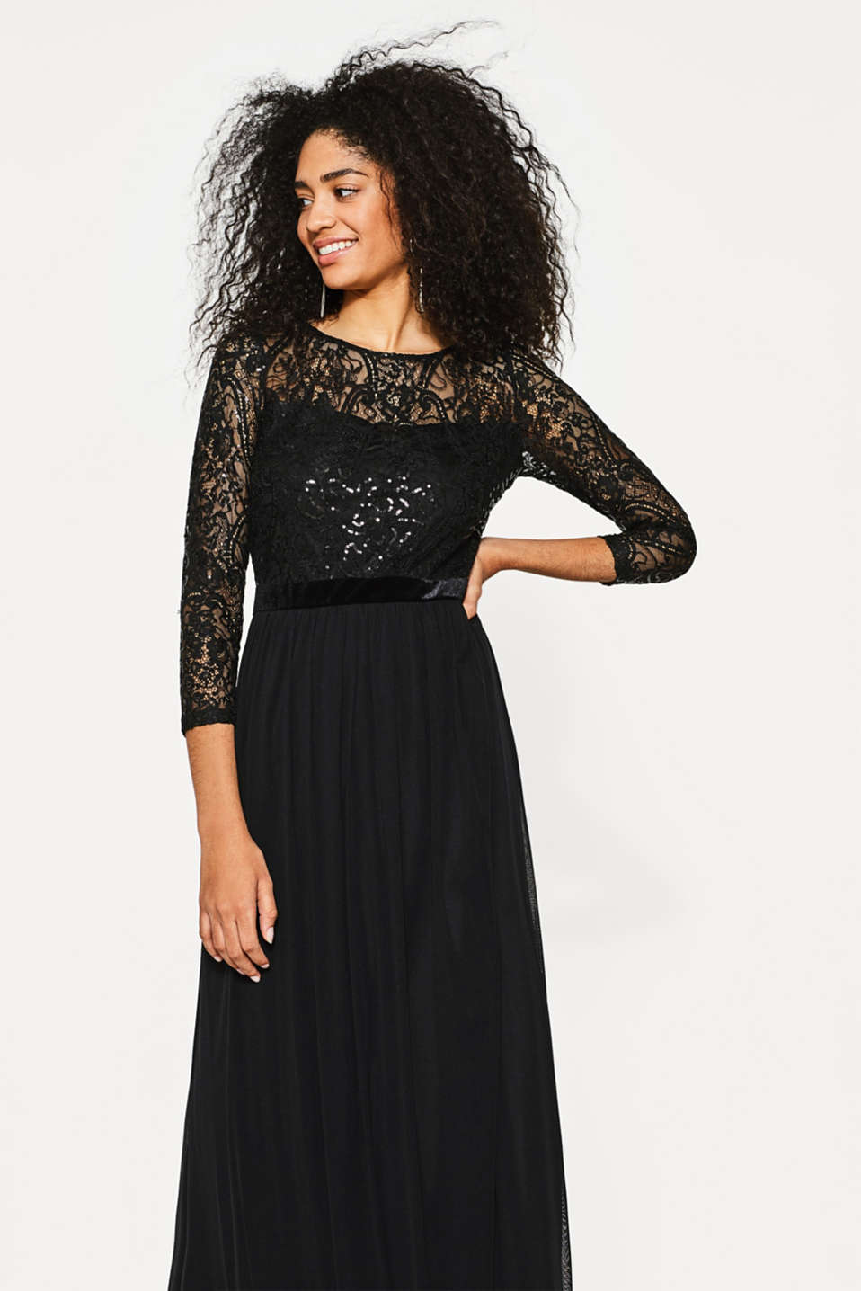 Esprit - Maxi dress in lace, sequins and mesh
