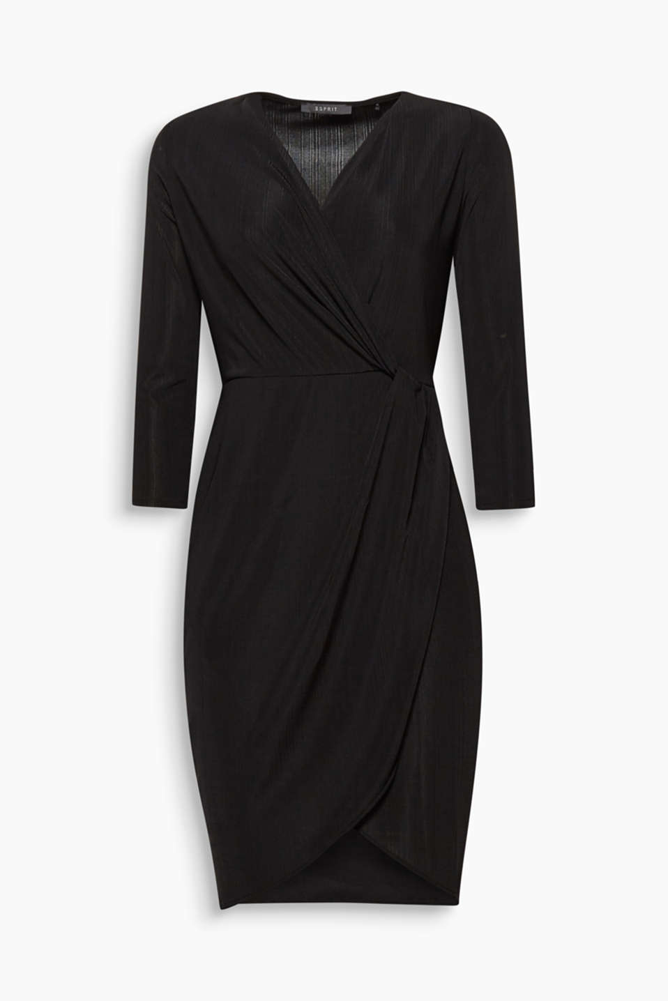 For an instant chic look, this jersey dress with textured stripes and wrap-over details is perfect for parties!