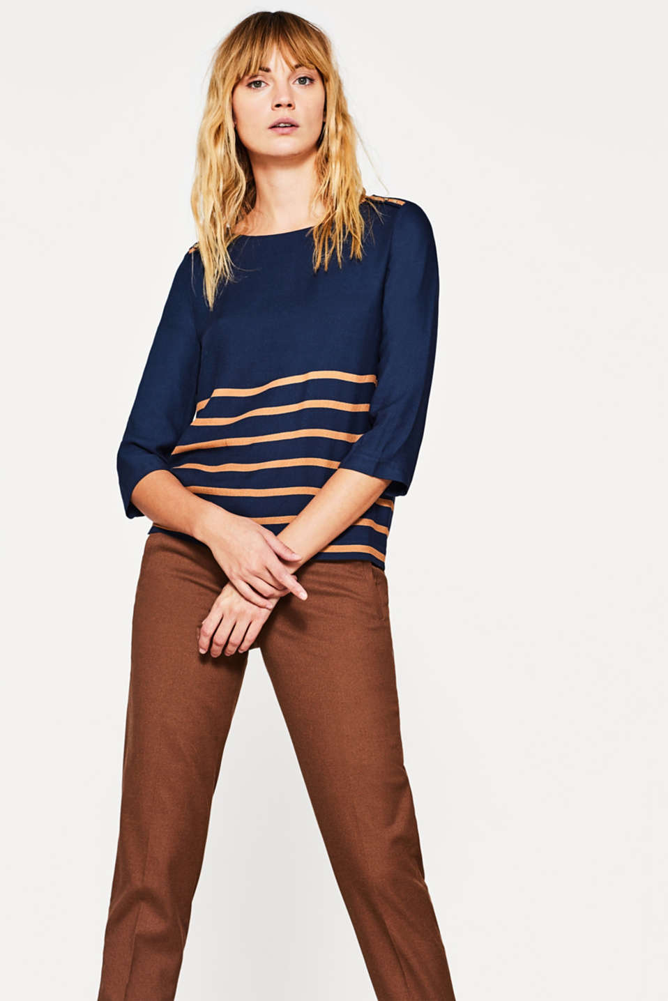 Esprit - Long sleeve top with glitter stripes