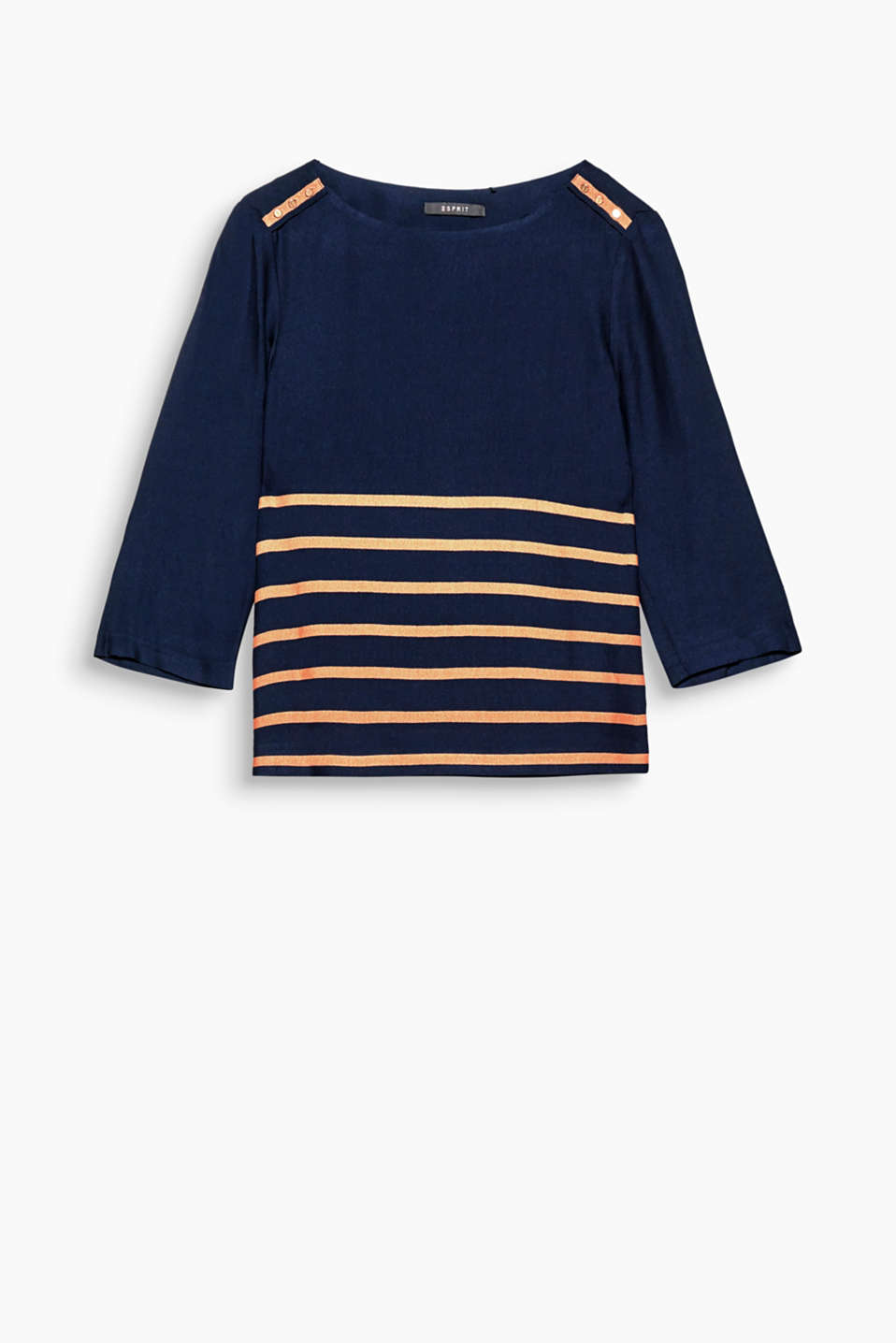 The horizontal glitter stripes and epaulettes make this long sleeve top a genuine one-off.