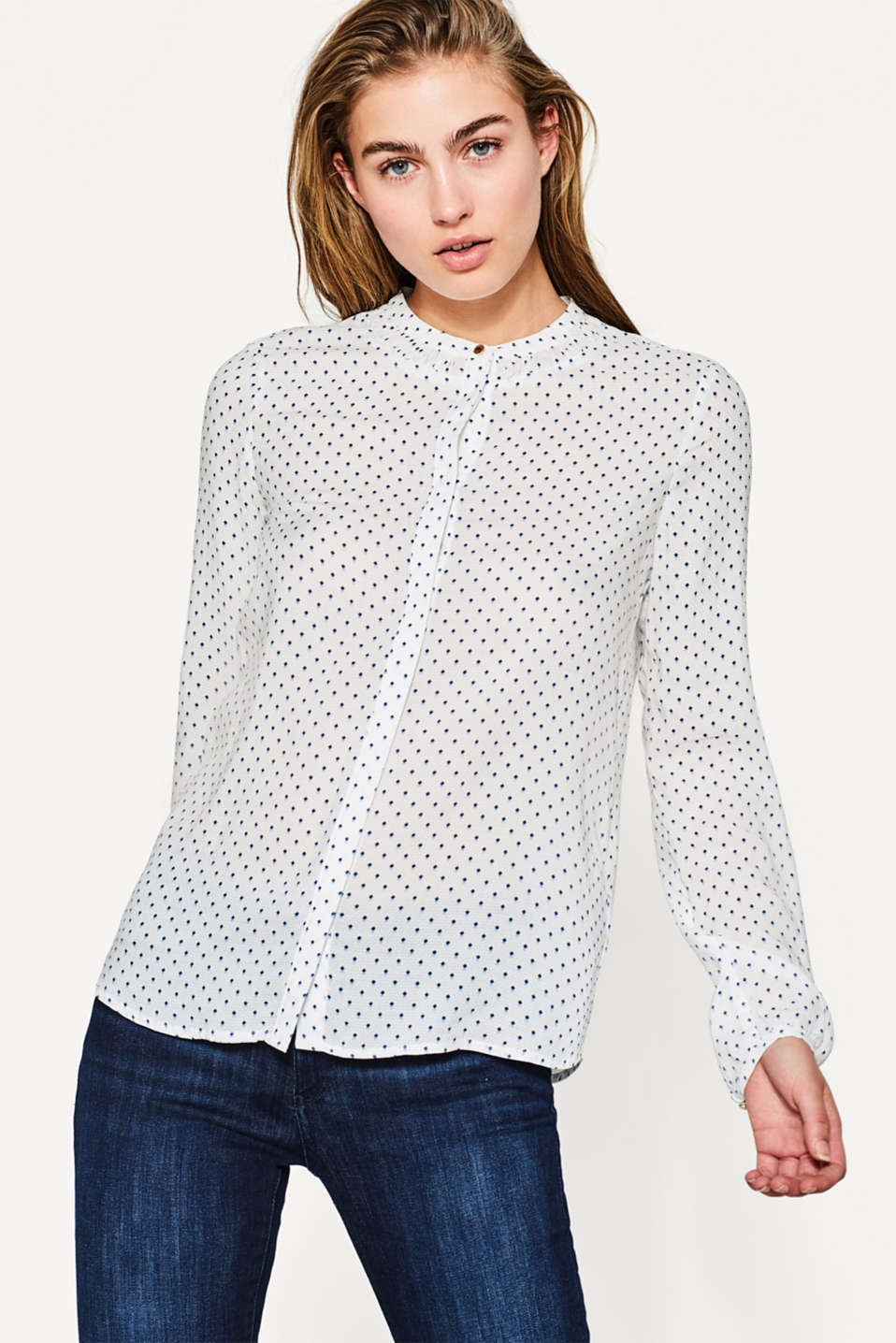 Esprit - Floaty blouse with all-over minimal print