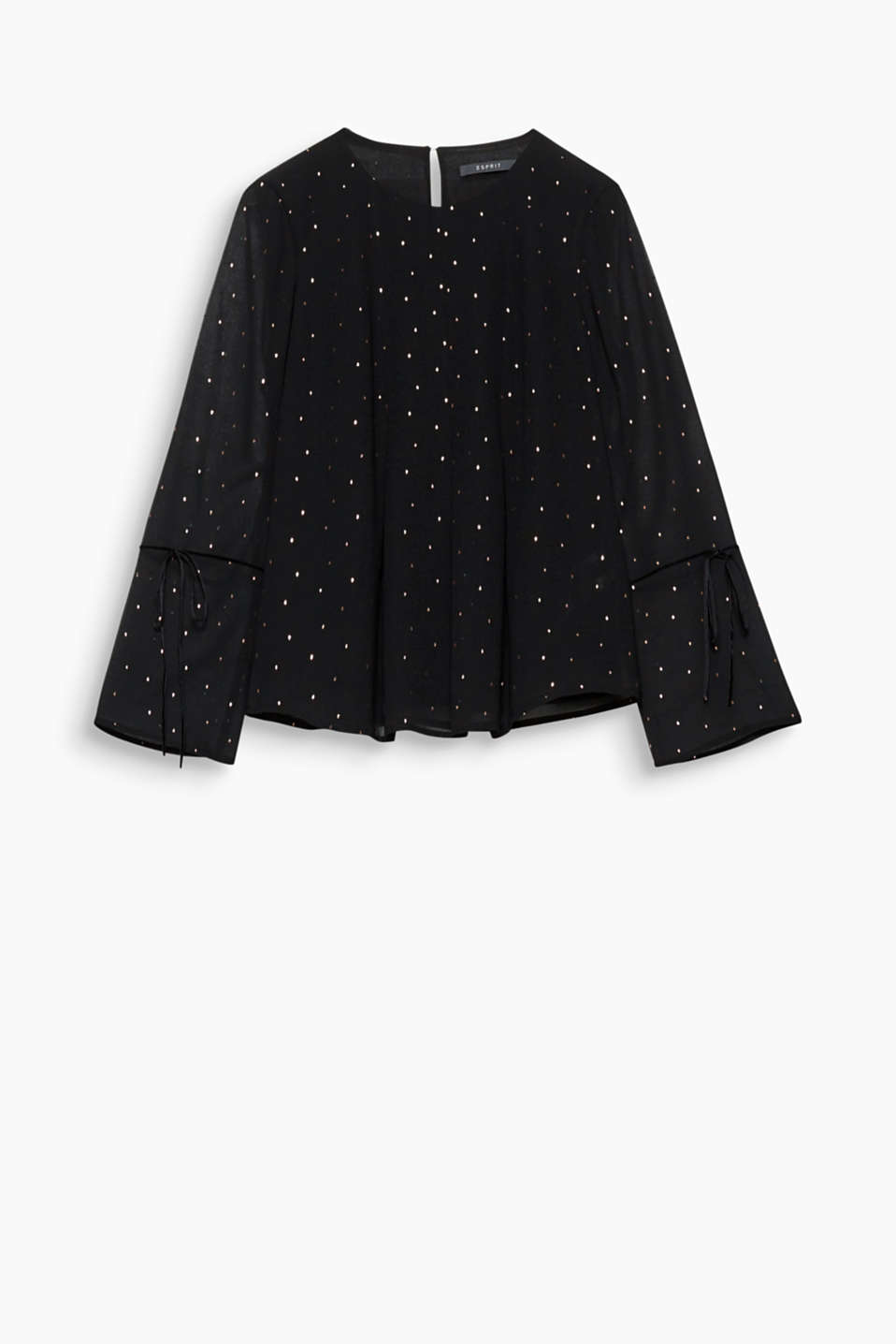 Delicate, feminine, festive: With its sheer sleeves and velvet bow, this blouse with gold polka dots exudes pure romance.