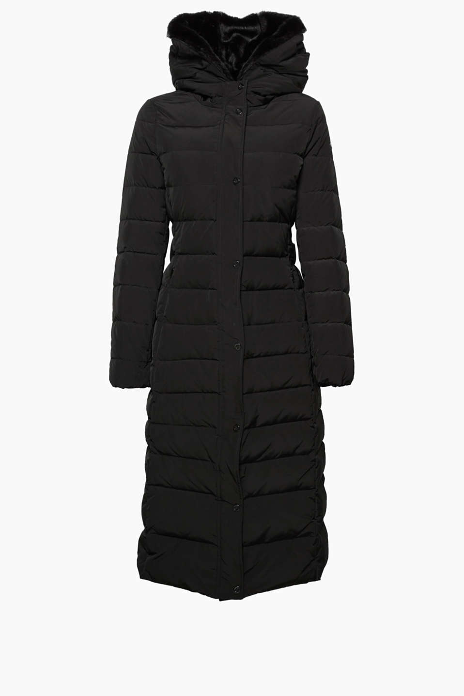 A stylish winter classic! Maxi-coat with an RDS-certified down/feather filling and a faux-fur hood.