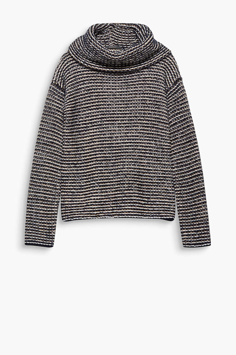 A must-have for cold days: This textured striped jumper with a wide polo neck will wrap you up in warmth and style!