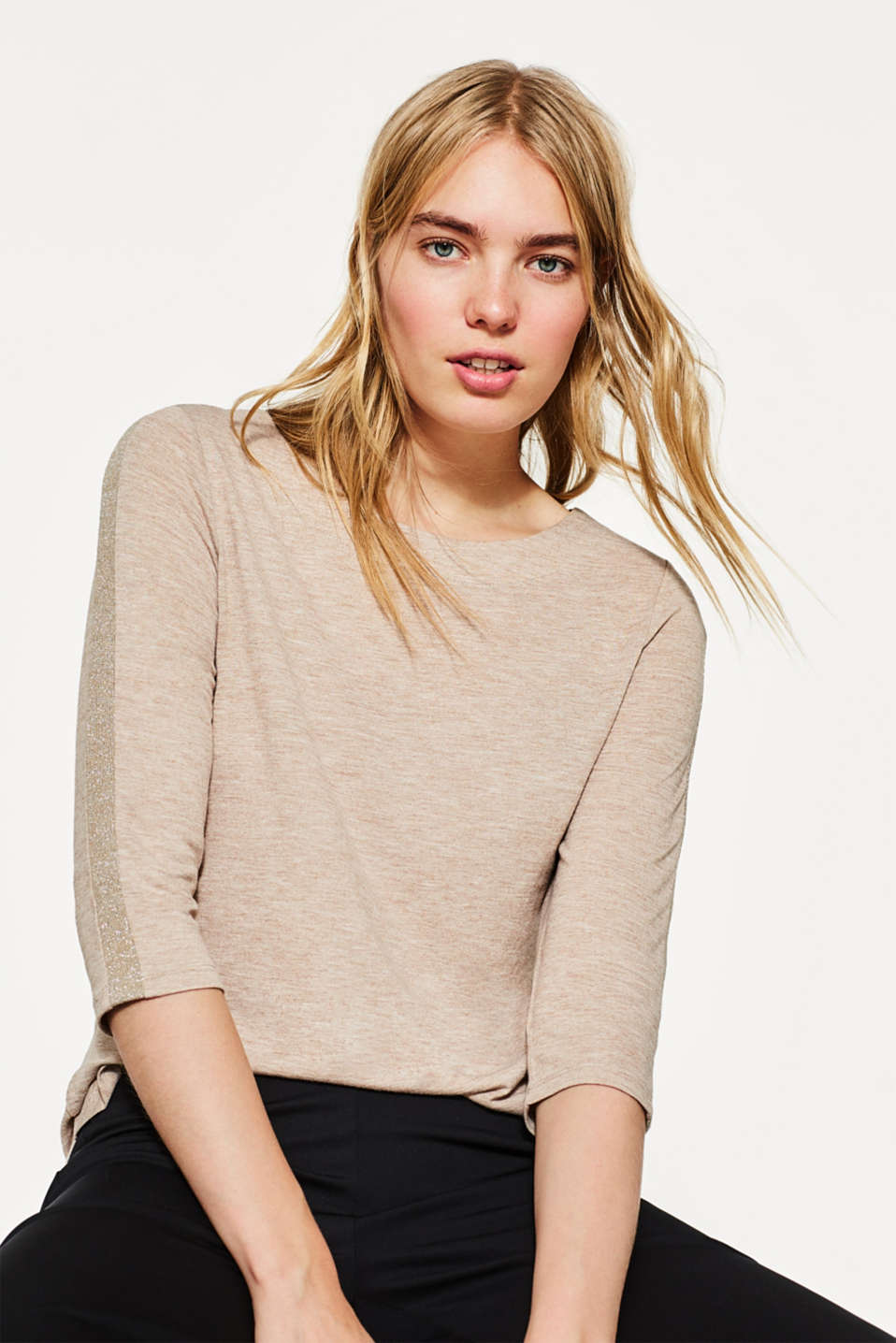Esprit - Flowing top with glittery stripes