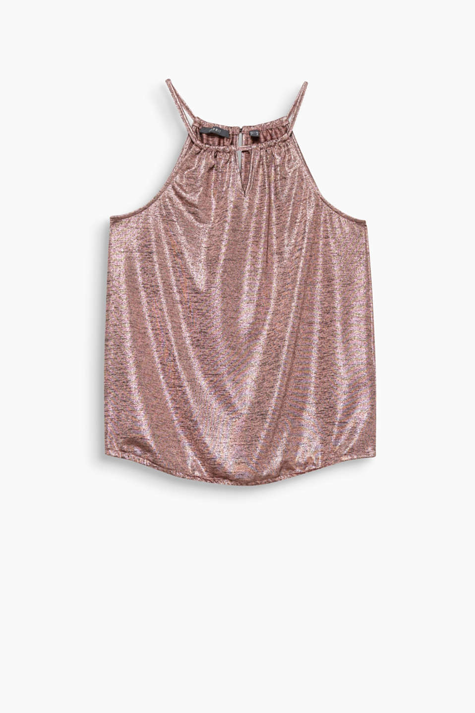 Melange top in a fine shine with cut-away shoulders will now be your new party look!