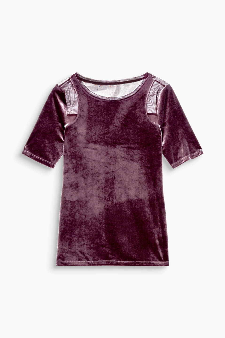 Switched up velvet: embellished with mesh inserts on the shoulders and back of this fitted T-shirt!